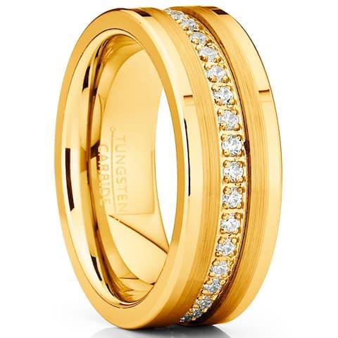 Oliveti Men's Goldtone Tungsten Ring Wedding Band Cubic Zirconia Comfort-Fit 8MM