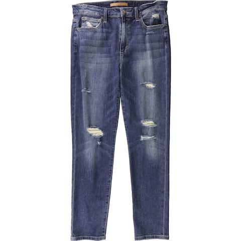 Joe's Womens High Waist Ripped Skinny Fit Jeans, Blue, 30