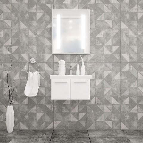 "Aspe 24"" Bathroom Vanity and Ceramic Sink with LED Mirror"