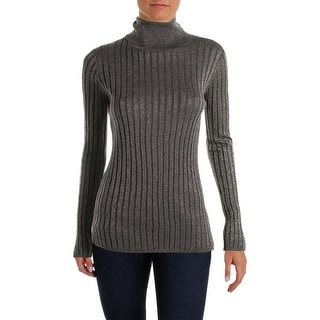 VELVET BY GRAHAM & SPENCER Womens Pullover Sweater Metallic Ribbed