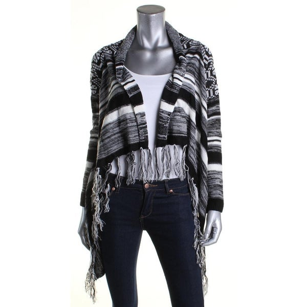 Shop Hooked Up Womens Juniors Cardigan Sweater Fringe Pattern Free