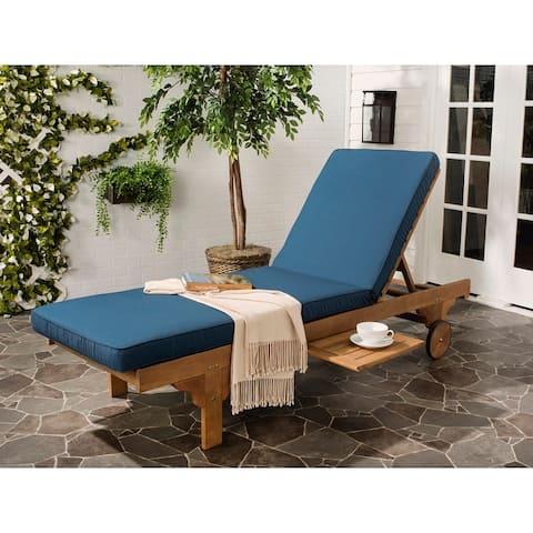 "Safavieh Outdoor Living Newport Brown/ Navy Cart-Wheel Adjustable Chaise Lounge Chair - 27.6"" x 78.7"" x 14.2"""