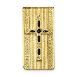 14k Gold IP Black Enameled Cross Money Clip