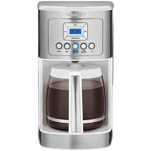 Cuisinart DCC-3200W 14C Glass Carafe with Stainless Steel Handle Programmable Coffeemaker, Stainless & White