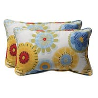 "Set of 2 Eco-Friendly Decorative Primary Floral Outdoor Throw Pillows 18.5"" - Multi"