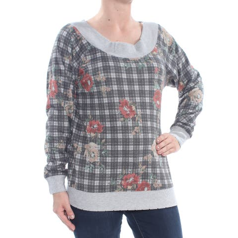 AMERICAN RAG Womens Gray Long Sleeve Off Shoulder Sweater Size S