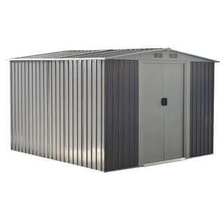 Deals on Costway 8x8 ft Outdoor Garden Galvanized Steel Storage Shed