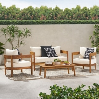 Brooklyn Outdoor Acacia Wood 4 Seater Chat Set with Cushions by Christopher Knight Home