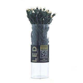 """Pack of 16 Warm White Frosted LED M5 Mini String Lights 6"""" Spacing - 25.5' Long Green Wire"""