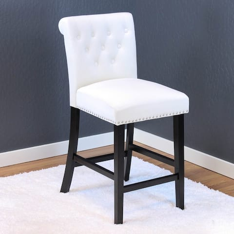 """Silver Orchid Flohr Tufted Polyester Velvet Counter Chairs (Set of 2) - 40.5""""h x 18.5""""w x 22.5""""d - 40.5""""h x 18.5""""w x 22.5""""d"""