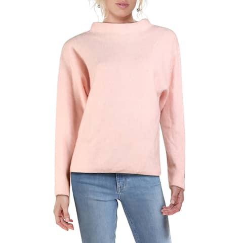 RD Style Womens Funnel-Neck Sweater Boxy Long Sleeve - Ballet Pink