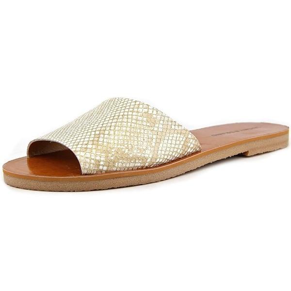 Lucky Brand Dorian Women Open Toe Leather Gold Slides Sandal