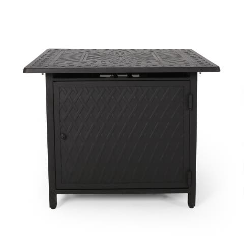 """Aspen Outdoor Square Aluminum Fire Pit by Christopher Knight Home - 32.25"""" W x 32.25"""" D x 24.75"""" H"""