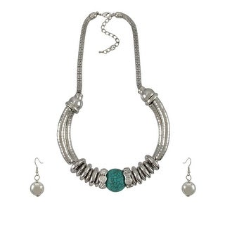 Silvertone Necklace and Earring Set Turquoise Bead and Rhinestones - Silver