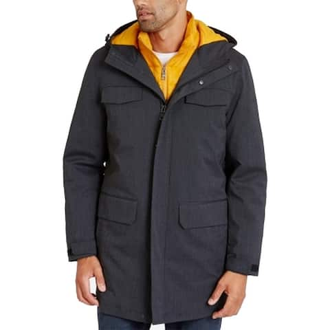 Nautica Mens Jacket Black Yellow XL 3 in 1 System Parka Hooded