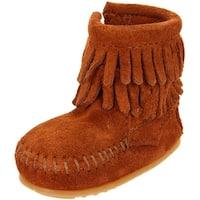 Minnetonka Baby Double Fringe Side Zip Zipper Boots