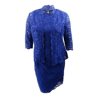 R&M Richards Women's 2-PC Sequined Lace Jacket & Dress (14, Royal) - Royal - 14