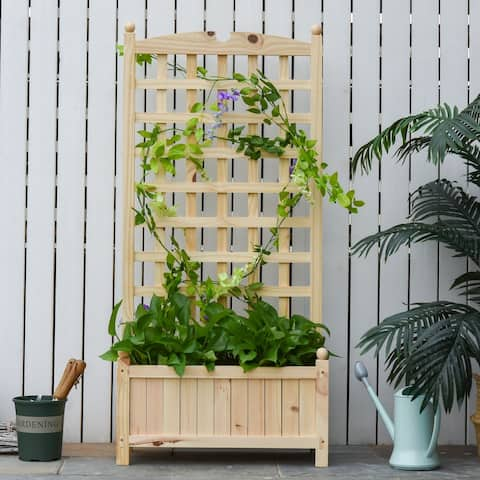 Outsunny Raised Bed with Trellis Standing Lattice Panels for Plants, Flowers or Vine Garden Outdoor Indoor, Natural