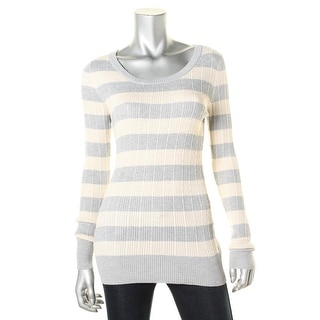 Pink Rose Womens Juniors Striped Scoop Neck Pullover Sweater
