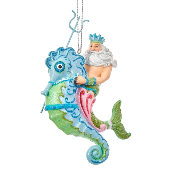 kurt adler mermaid fantasy king neptune riding seahorse holiday ornament - Seahorse Christmas Ornament