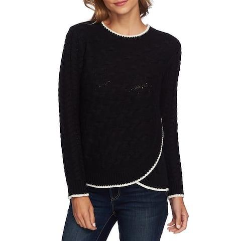 CeCe Women's Black Size Large L Cable Knit Curve Hem Crewneck Sweater