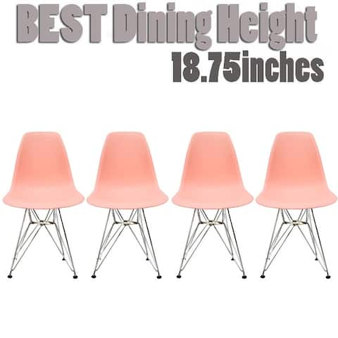 Modern Side Dining Chair Colors with Wire Chrome Legs Base (Set of 4)