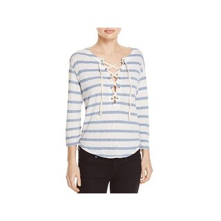 Splendid Womens Casual Top Striped Three-Quarter Sleeve