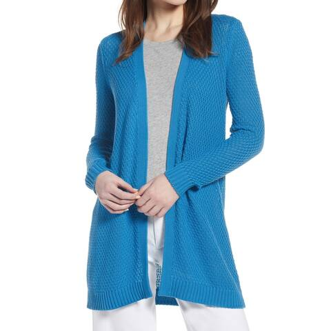 Halogen Womens Sweater Blue Size Medium M Cardigan Open-Front Knit