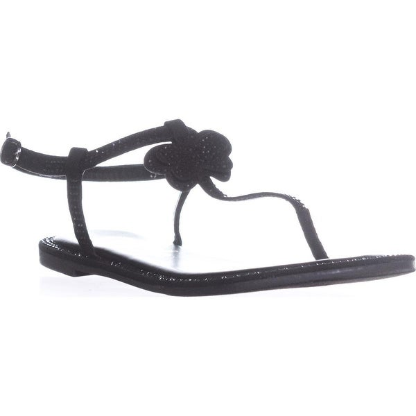 callisto Geneve T-Strap Flat Sandals, Black
