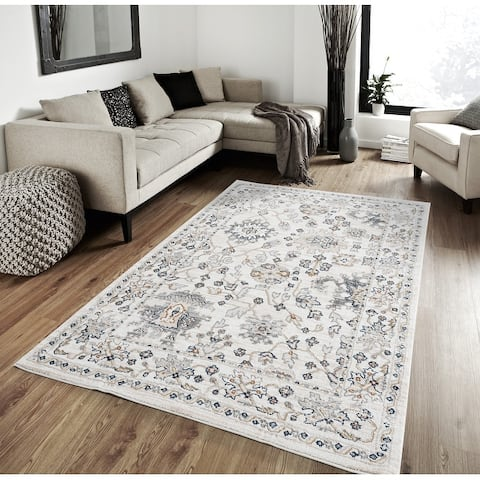 Porch & Den Sandelie Geometric Floral Plush Area Rug