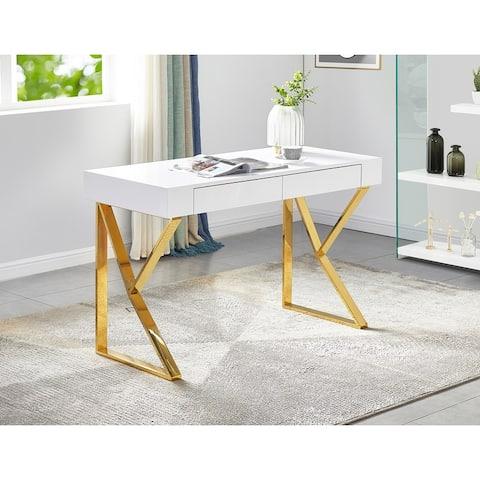 Best Master Furniture White Glossy 2 Drawer Modern Desk