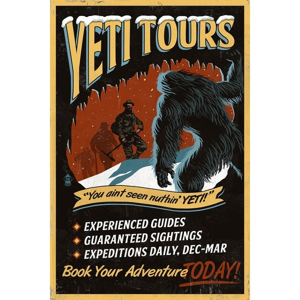 Yeti Tours - Vintage Sign - LP Artwork (Light Switchplate Cover)