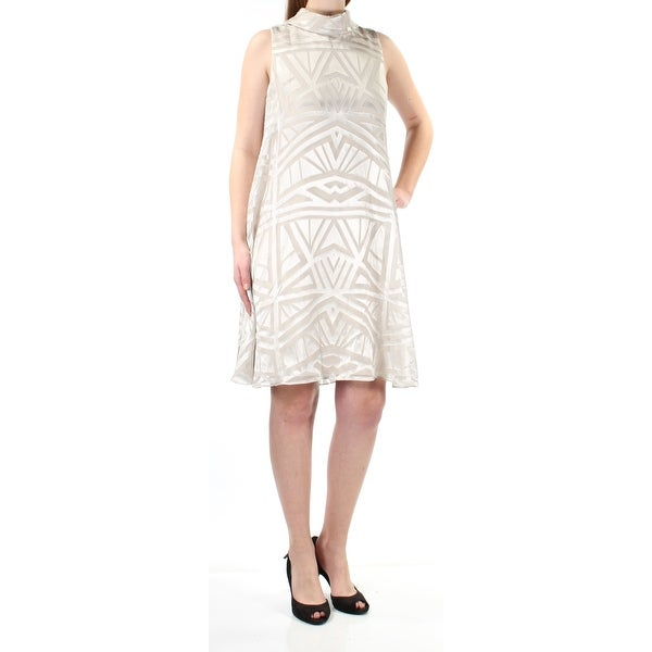 VINCE CAMUTO Womens Beige Mock Neck Printed Sleeveless Above The Knee Shift Formal Dress Size: 10