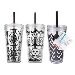3 Pack Copco Minimus Tumbler With Removable Straw Double Wall Insulation 24 Oz - Chevron Black, Damask Black, Black Skulls