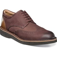 Florsheim Men's Navigator Wingtip Derby Burgundy Milled Nubuck/Smooth Leather
