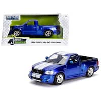 1999 Ford F-150 SVT Lightning Pickup Truck Candy Blue  with White Stripes Just Trucks Series 1/24 Diecast Model Car by Jada