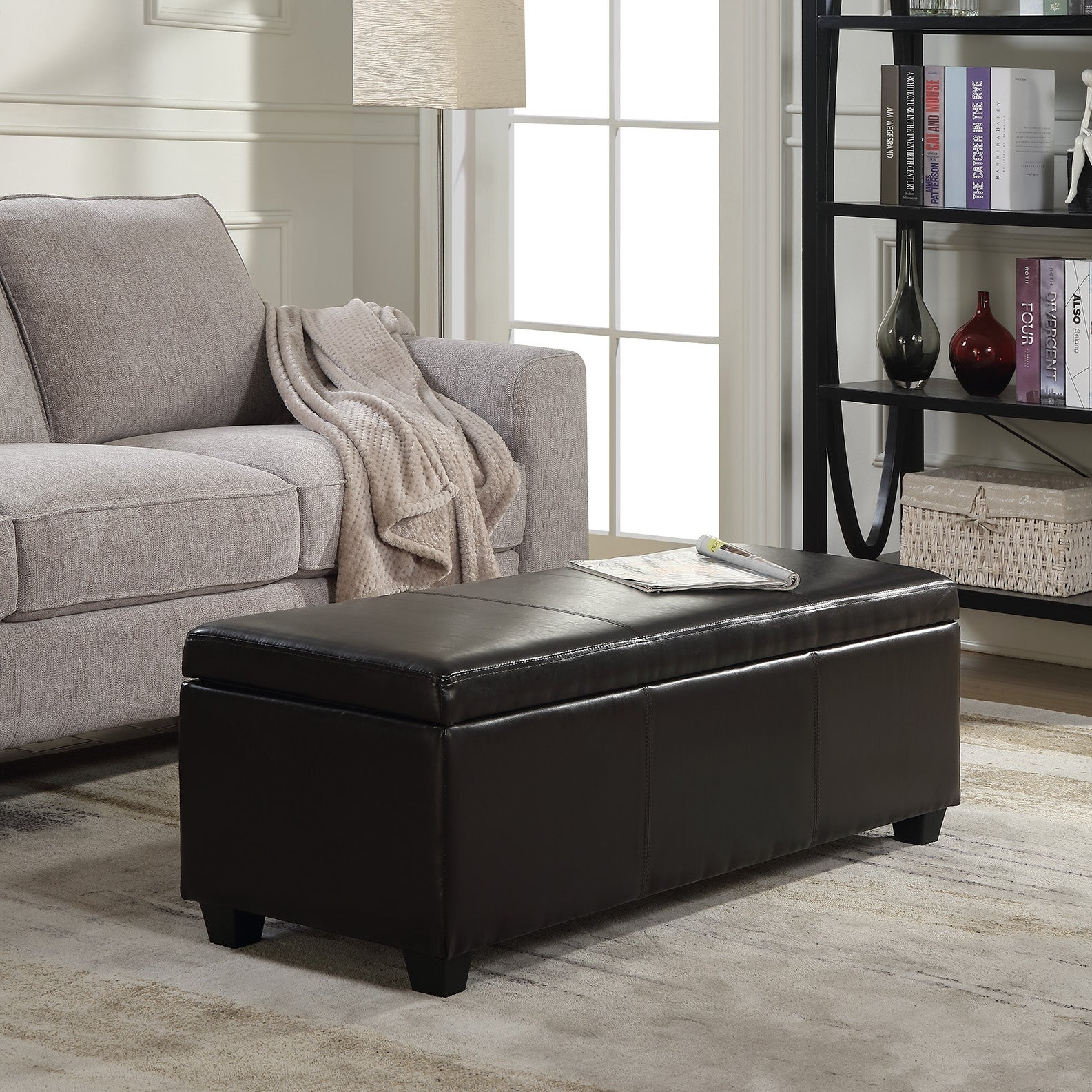 Belleze Modern Elegant Ottoman Storage Bench Faux Leather Linen 48 Standard Overstock 22163149