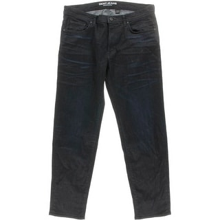 DKNY Jeans Mens Bleecker Low-Rise Dark Wash Straight Leg Jeans