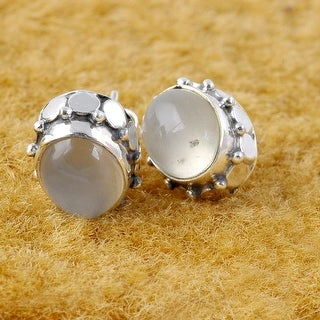 Link to Moonstone Sterling Silver Oval Stud Earrings by Orchid Jewelry Similar Items in Earrings