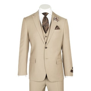 Tufo, Modern Fit, Tan, Pure Wool Suit & Vest by Tiglio Luxe TIG1004