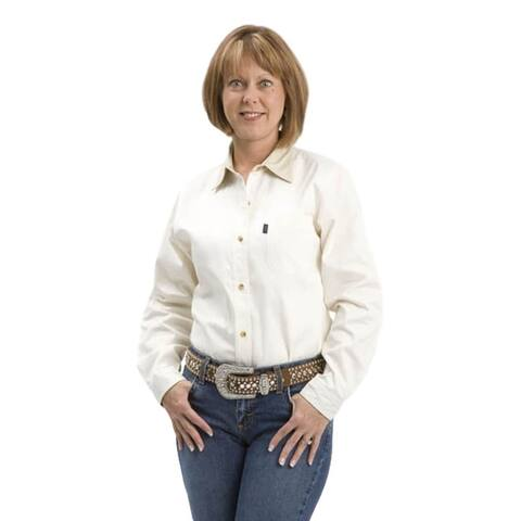 Roper Western Shirt Womens L/S Solid Button Ecru
