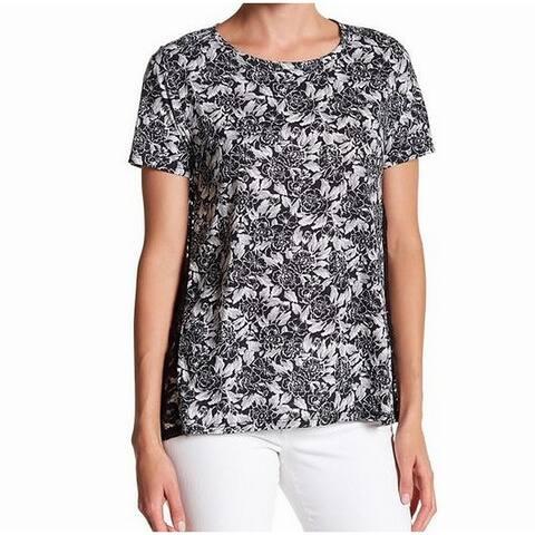 Joe Fresh Black Women's Small Floral Lace T-Shirt Top