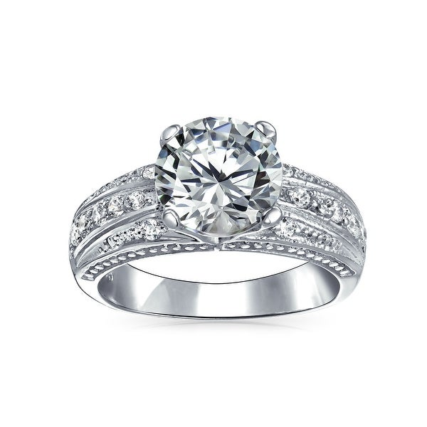 Vintage Style 3CT Round Brilliant Cut AAA CZ Solitaire Engagement Ring. Opens flyout.