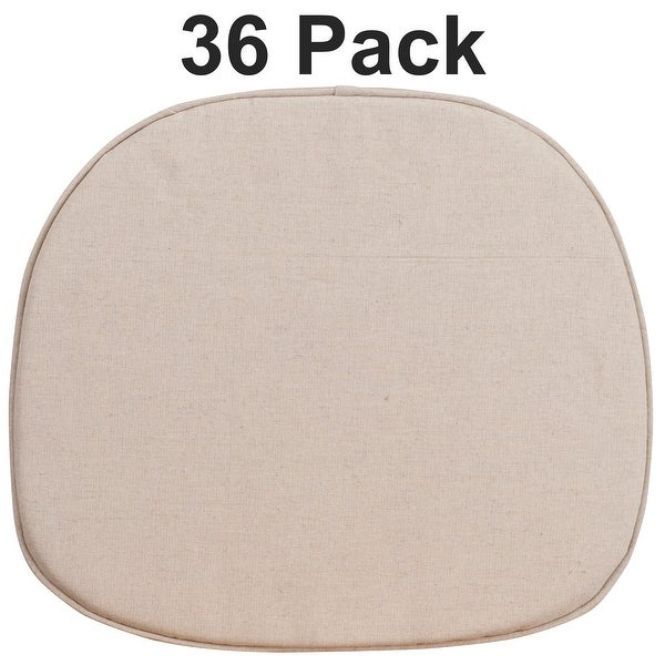 36 Pack Natural Thin Chair Cushion with Tieback Straps and Removable Cover