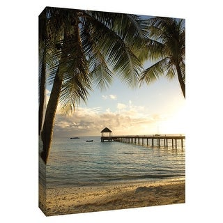 """PTM Images 9-148740  PTM Canvas Collection 10"""" x 8"""" - """"Pier and Palm"""" Giclee Beaches Art Print on Canvas"""