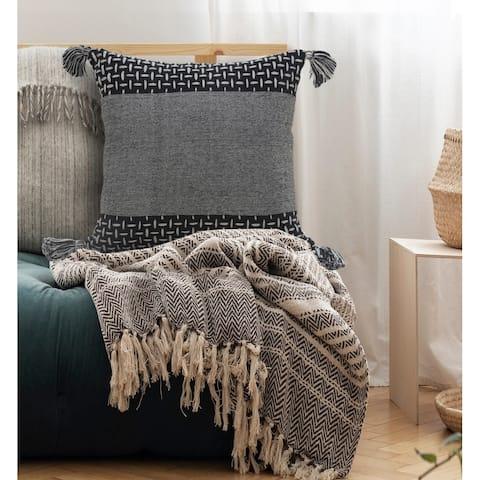 Interwoven Dash Geometric Throw Pillow with Tassels