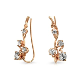Bling Jewelry Rose Gold Plated. 925 Silver Modern CZ Ear Pins Ear Crawlers - Pink
