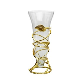 Clear Glass Vase with Removable Gold Leaf Base