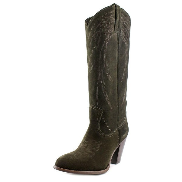 Frye Ilana Pull On Women Round Toe Suede Green Western Boot