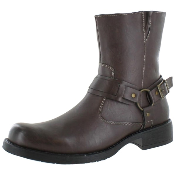 Robert Wayne Connor Men's Harness Boots Moto Faux Leather
